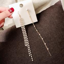 韩国夏季新款优雅水钻流苏不对称小珍珠长款时尚耳线耳环女