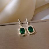 高级感绿色祖母绿水晶精致小巧简约冷淡风气质耳饰2020新款耳钉女