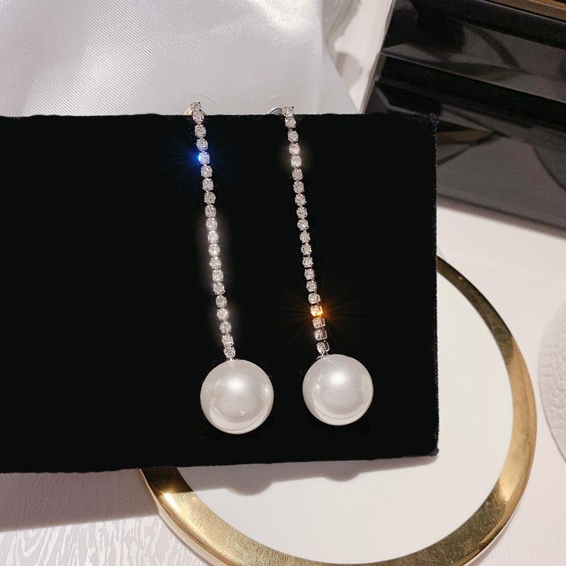 一式两戴珍珠耳环女S925银针长款气质冬季冷淡风夸张长款流苏耳饰图片