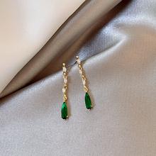 新款S925纯银耳针精致显气质长款流苏祖母绿水晶耳钉耳环女