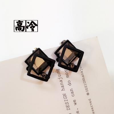 夏新款韩国925银针四方框水晶耳环耳钉气质黑电镀女甜美学生耳饰