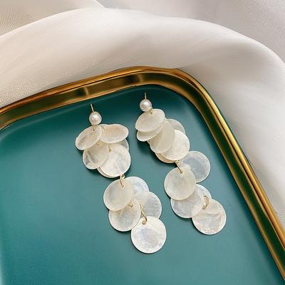 夏日度假风薄片小珍珠超仙长款贝壳耳环简约时尚耳饰女925银针