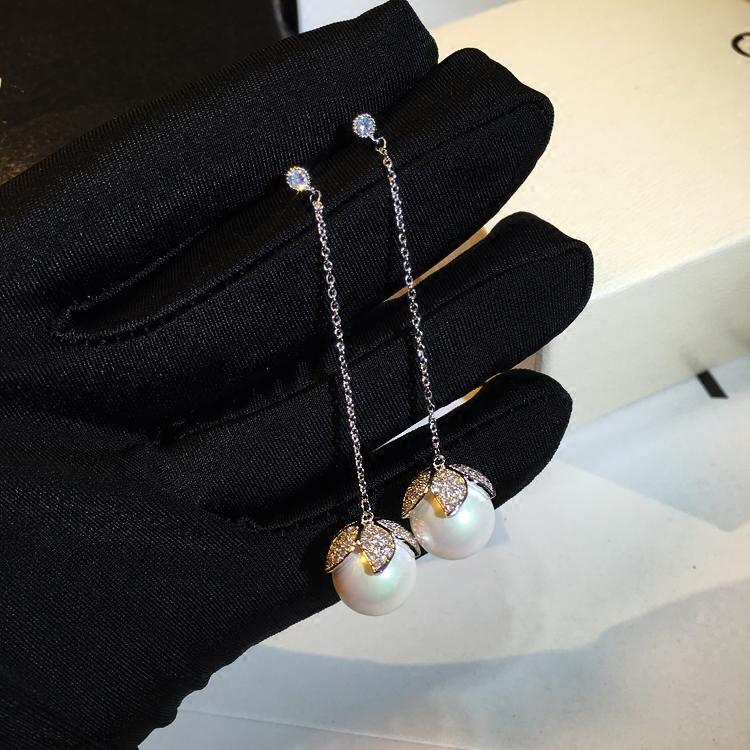 日韓冬珍珠耳墜S925純銀時尚氣質長款耳環鑲鉆吊墜簡約耳釘女飾品