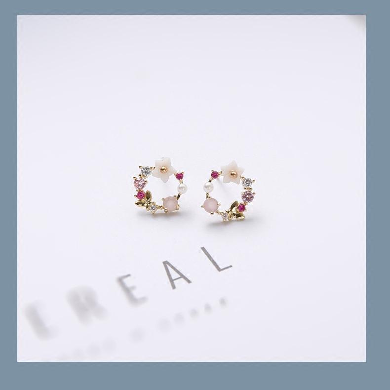 韩国东大门少女花环耳钉s925纯银针贝壳水晶锆石珍珠气质耳环耳坠