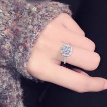 韩国东大门时尚日韩欧美超闪方形大锆石镶钻气质百搭戒指指环 女