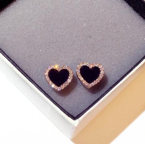日韩国925银针爱心耳环超闪水钻心形气质百搭耳钉时尚个性耳饰女
