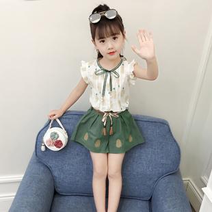女童夏装套装短袖女童装网红中大童宝宝洋气运动儿童夏季两件套潮