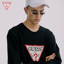 GUESS couple 2018 autumn and winter inverted triangle LOGO sets of round neck sweater men plus velvet - MI3K8465C