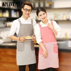 韩日式全棉麻布艺男女士 围裙袖套三件套 条纹厨房家居工作服定制