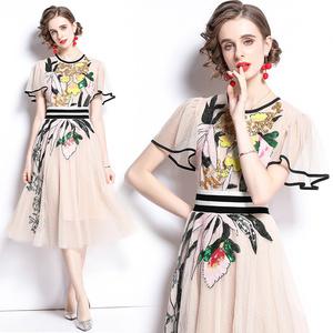 RS21643#欧根纱重工彩色珠片绣法式长裙 夏季短袖时尚礼服裙