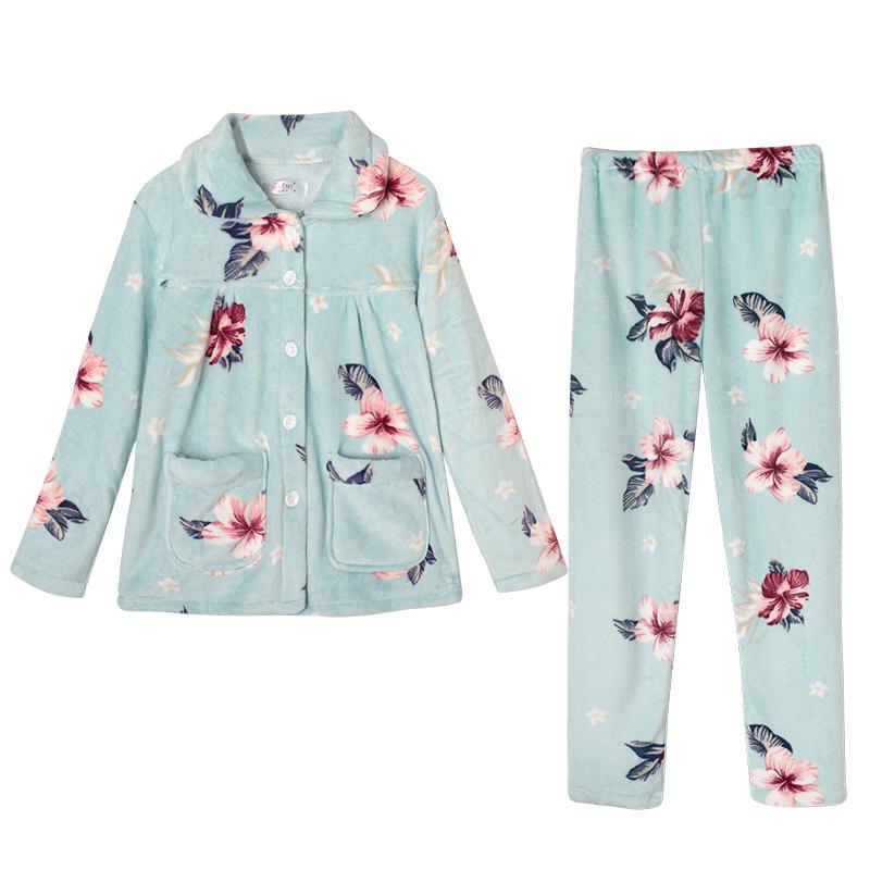 秋冬款中老年妈妈珊瑚绒睡衣女三层夹棉加厚冬季法兰绒睡衣老人