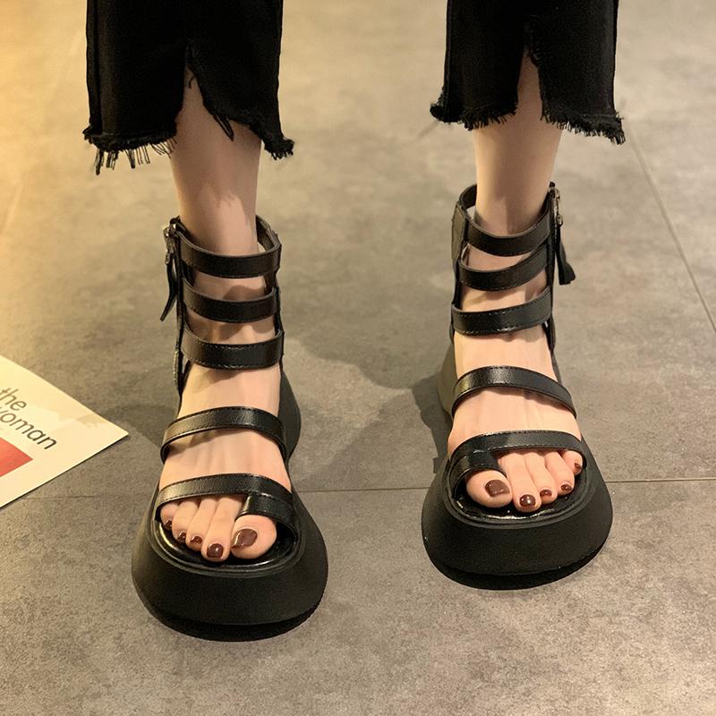 凉鞋女夏2021年新款网红短靴ins潮侧拉链厚底增高复古防滑罗马鞋