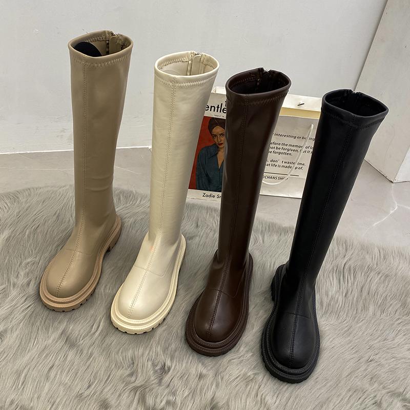 时尚部落不过膝女长筒靴2021年新款夏季白色厚底长靴子春秋骑士靴
