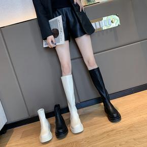 长筒靴女2020新款春秋单靴韩版时尚百搭网红ins圆头粗跟短筒靴女