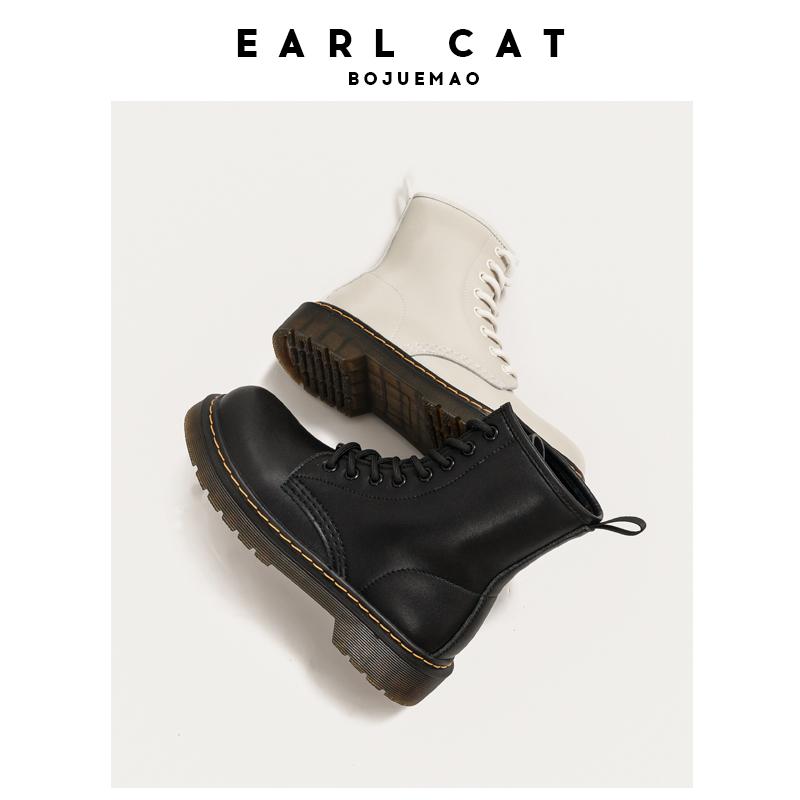 伯爵猫真皮八孔马丁靴女2021新款春秋单靴短靴英伦风厚底软皮靴子