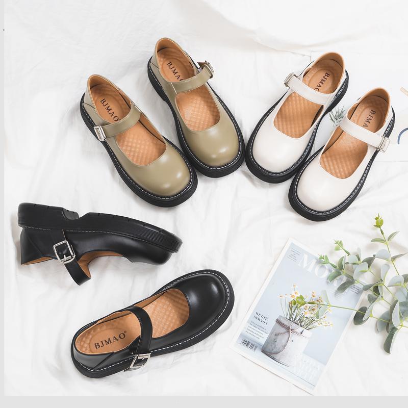 伯爵猫真皮玛丽珍鞋女夏季jk制服鞋日系复古学院风圆头厚底小皮鞋