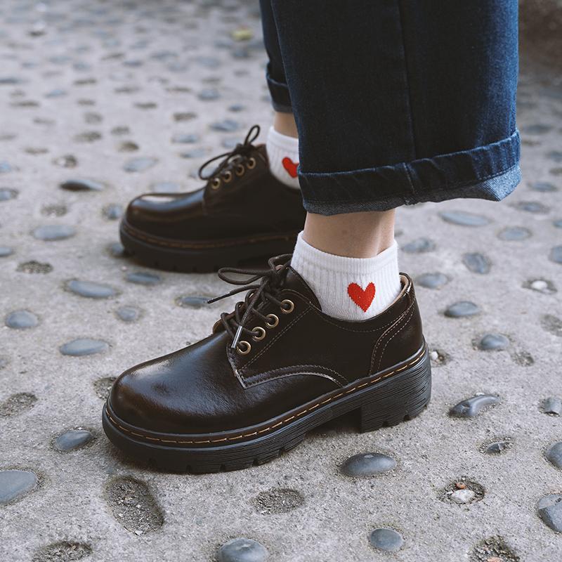 伯爵猫中跟小皮鞋女真皮舒适透气单鞋日系学院风学生春季jk制服鞋