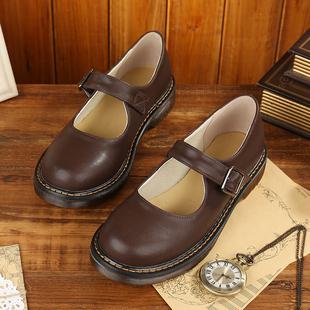 叙旧文艺复古平底森女日系玛丽珍女鞋JK单鞋低帮圆头学院风小皮鞋
