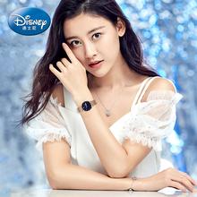 迪士尼手表女生简约气质手表ins风初高中学生星空夜光防水潮流款