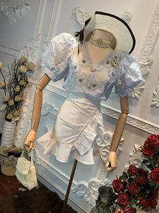 2020新款夏裝v領泡泡袖重工釘珠花朵上衣加高腰釘珠魚尾短裙套裝