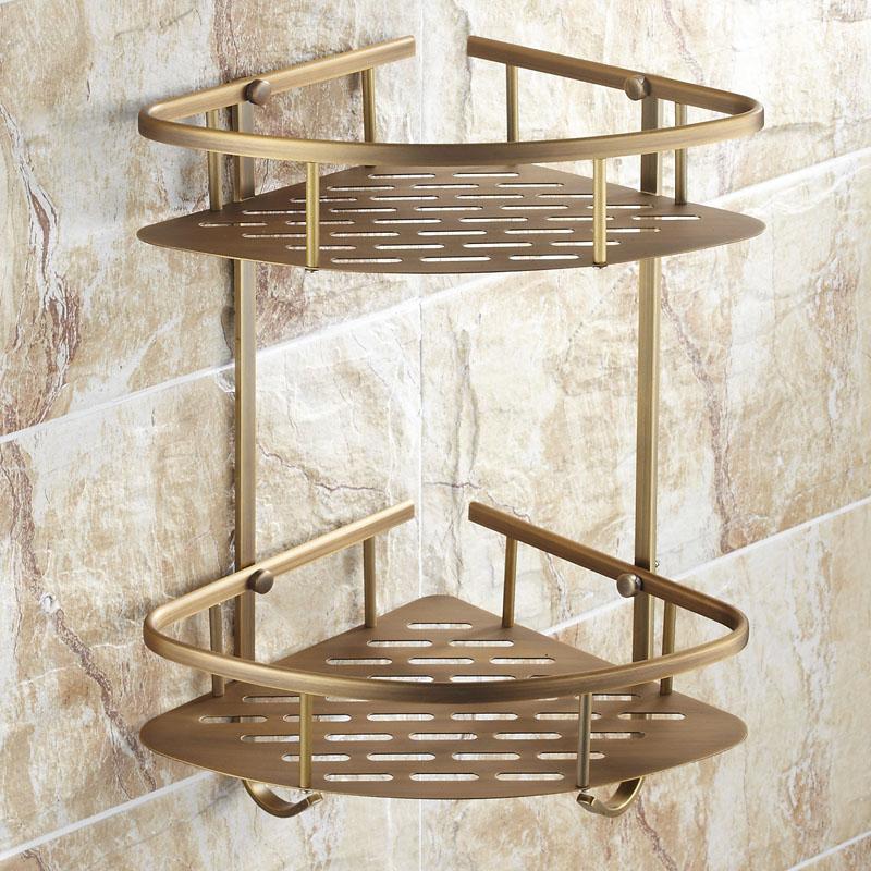 衛浴 仿古浴室置物架 全銅歐式 衛生間雙層三角籃 銅板網籃三角架