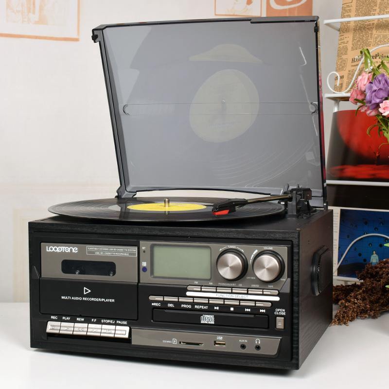 黑胶唱片机现代留声机多功能唱机CD磁带收音蓝牙USB内置喇叭遥控 Изображение 1