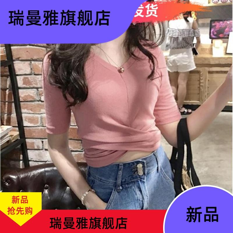 漏肚脐紧身交叉性感露脐短袖女夏小心机针织半袖短款T恤高腰上衣