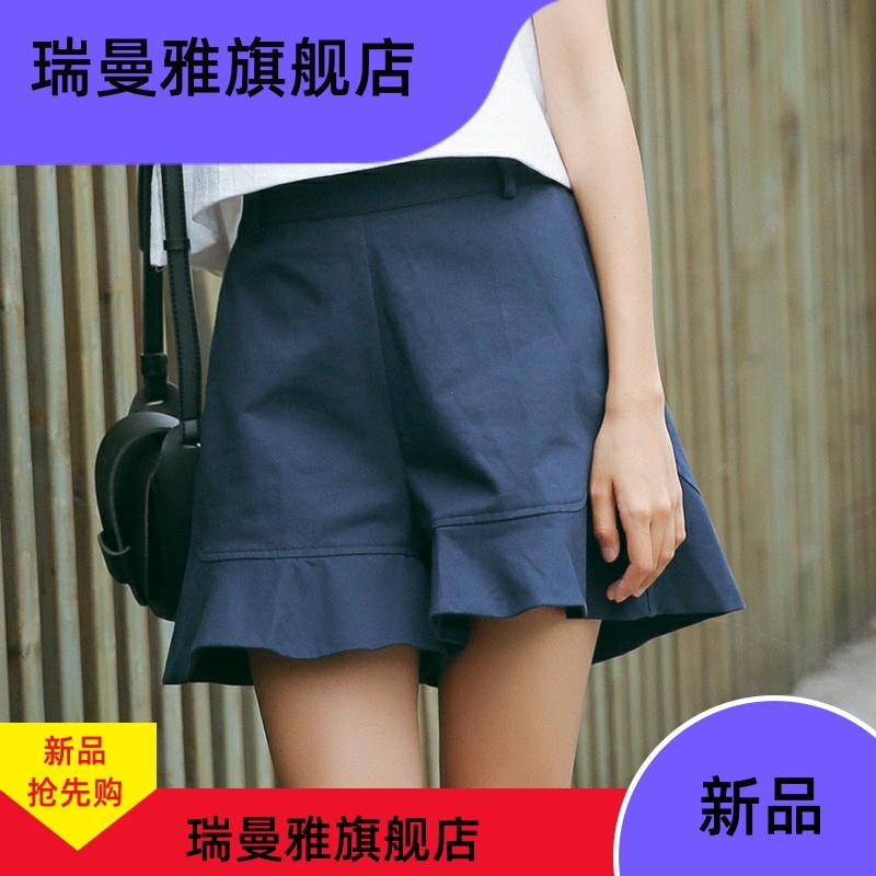 宽松百搭小清新甜美阔腿裤2020夏季新款休闲荷叶边高腰短裤学院风