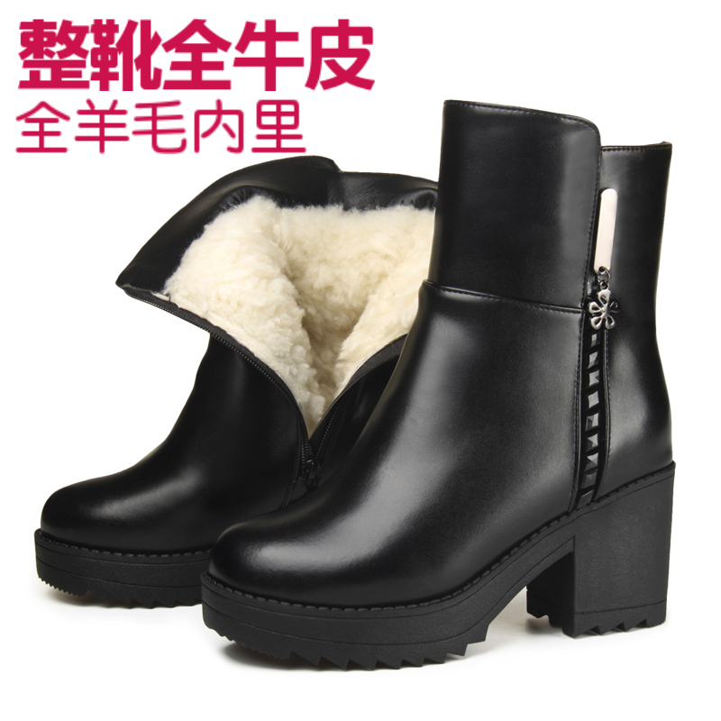 Winter new womens short boots leather high heel full leather large cotton shoes thick heel wool boots mother shoes cotton shoes