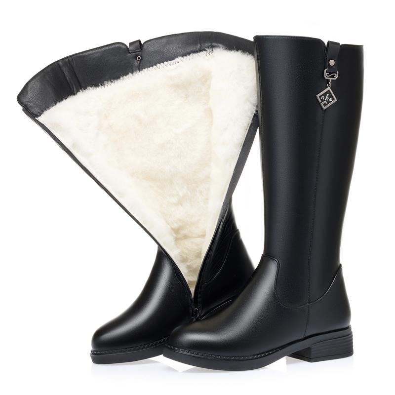 冬款棉靴全牛皮中跟高筒靴真皮加厚羊毛女靴保暖大码皮靴中年长靴