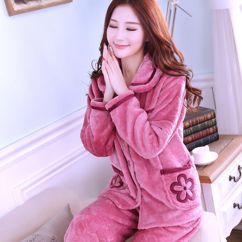 保暖阔腿女士中老年睡衣女冬加厚韩版妇女秋冬装粉色大码性感时尚