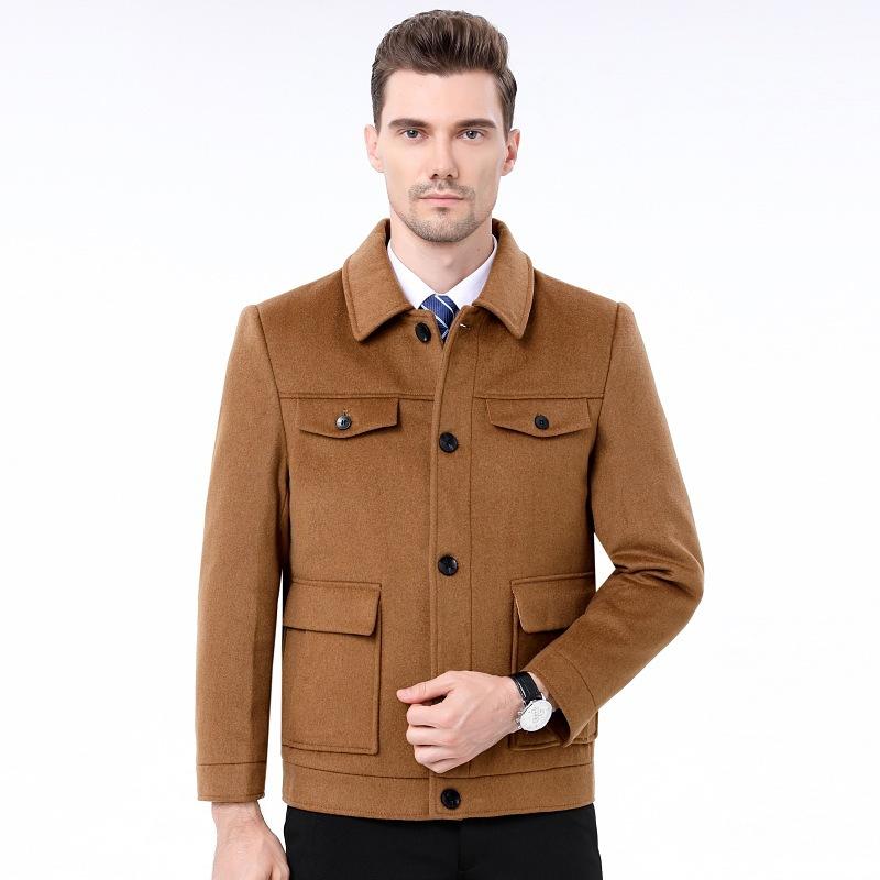 新款2020秋冬男士短款夹克外套双面羊毛呢子大衣宽松休闲翻领上装