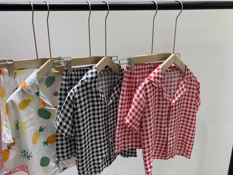 夏季新款棉绸家居服睡衣中童舒适亲肤透气睡衣男童女童套装