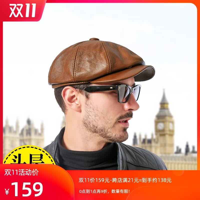 帽子男潮皮帽男真皮贝雷帽男士帽子