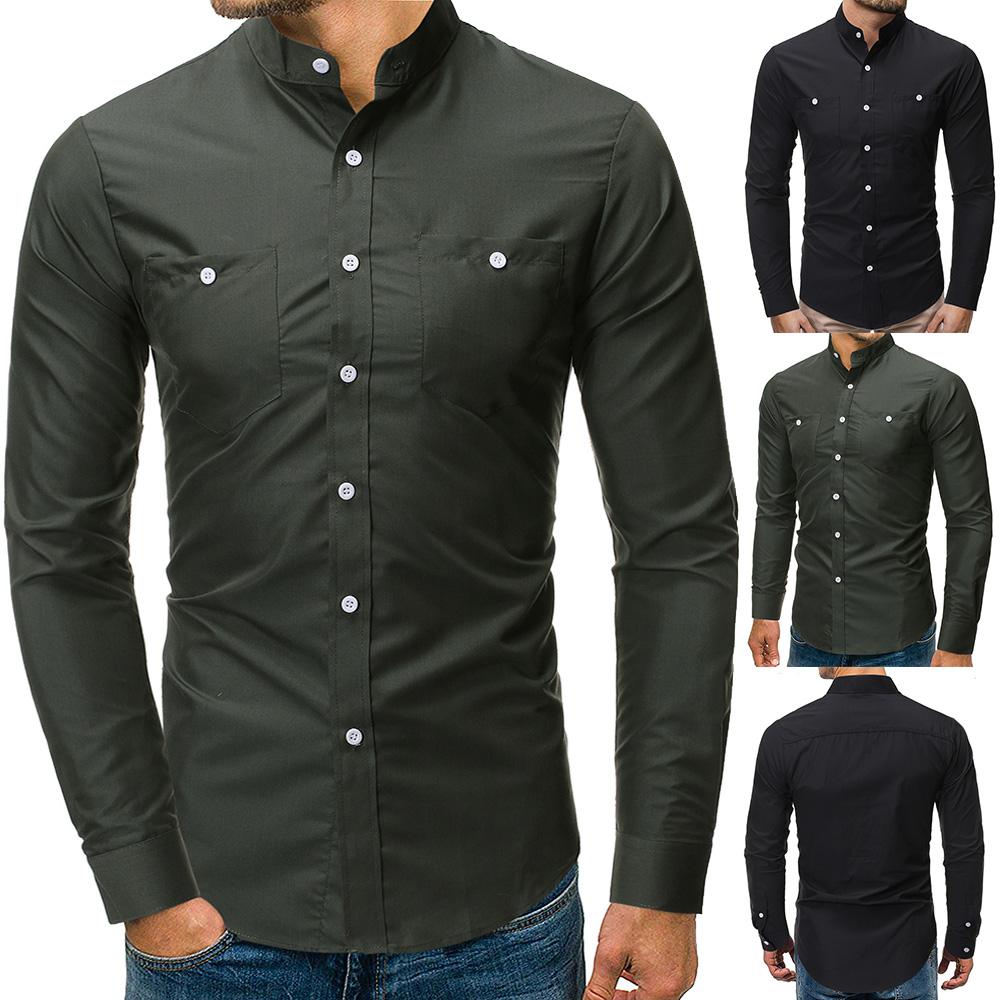 2019跨境外贸新款 男士时尚纯色立领休闲修身长袖衬衫7048 P25