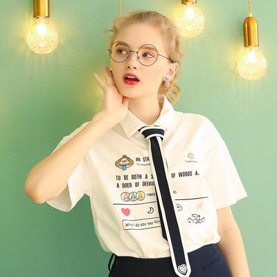 2020年新款宽松短袖T恤女夏设计感小众Polo衫半袖日系上衣白色T桖