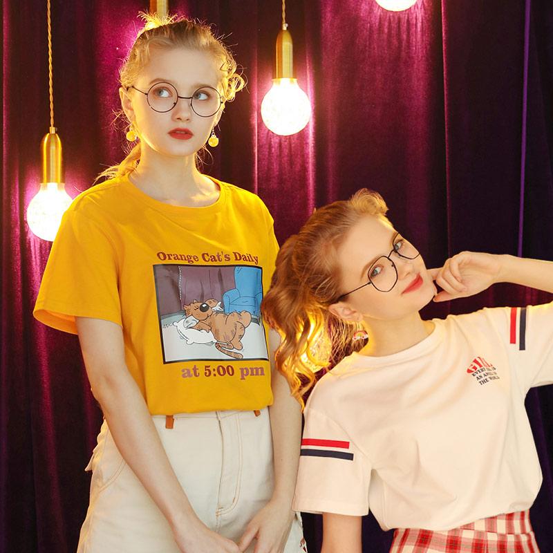 清仓】短袖T恤女夏2020年新款宽松韩版半袖学生上衣设计感小众T桖