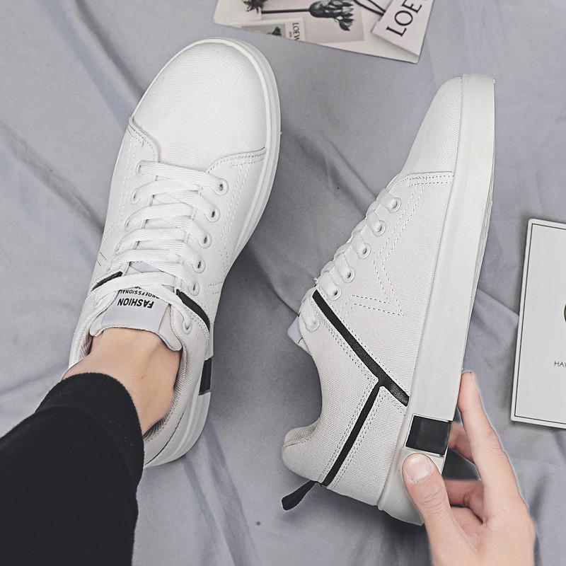 时尚男鞋夏季潮鞋2019新款板鞋韩版潮流百搭港风潮男帆布小白鞋男