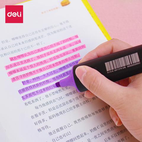 得力荧光笔记号笔S600荧光彩色 记号笔涂鸦笔韩文具荧光标记彩笔