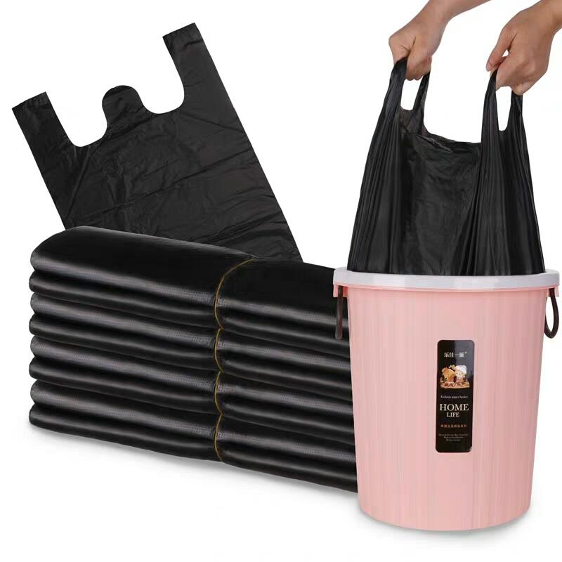 【有提手不怕脏】垃圾袋加厚 黑色手提背心式大号塑料袋垃圾袋子