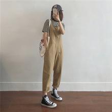 muzi纯色薄款九分休闲背带裤女2021早秋新款百搭显瘦纯棉连体长裤