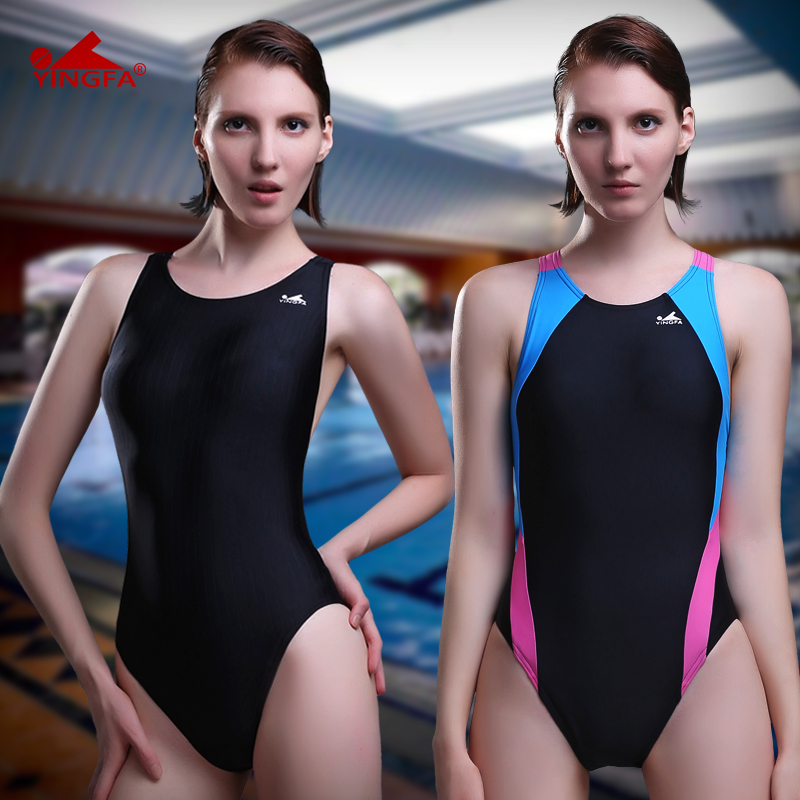 英发 专业泳衣女连体三角经典款 显瘦大码训练游泳衣遮肚泳装图片