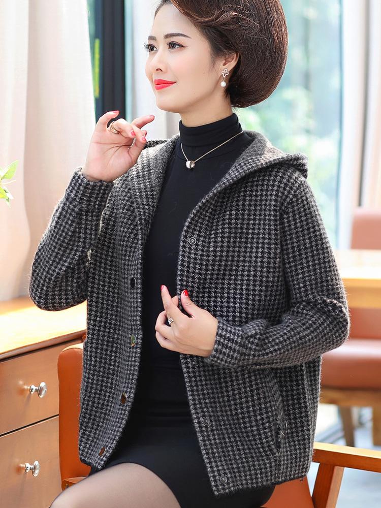 2021新款妈妈秋装洋气毛衣外套短款中年秋冬装中老年女阔太太风衣