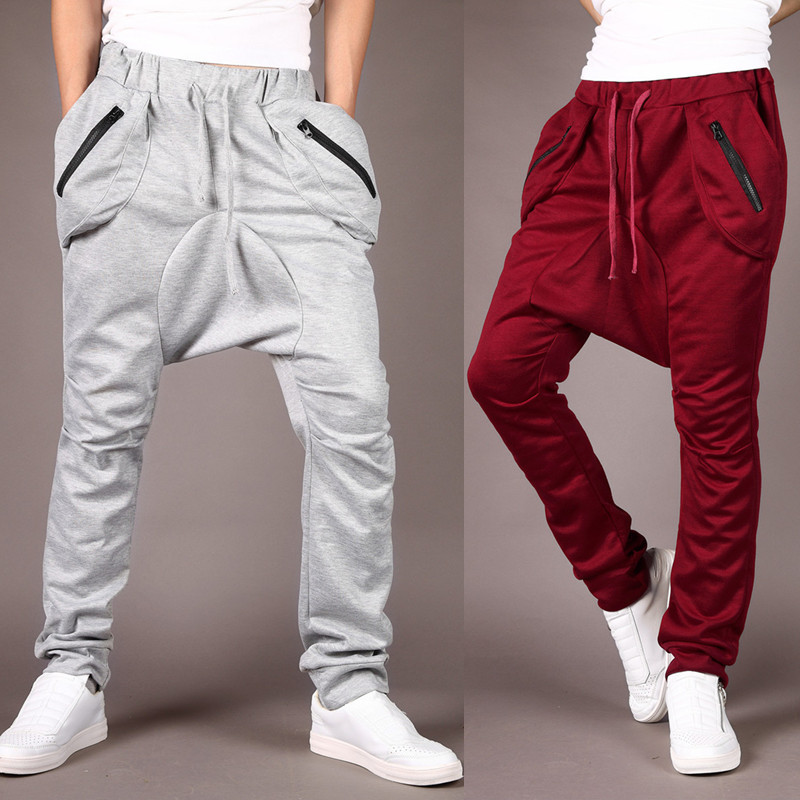Fashionable mens sports pants mens new trend versatile mens harem pants casual corset jogging low crotch straddle pants x77