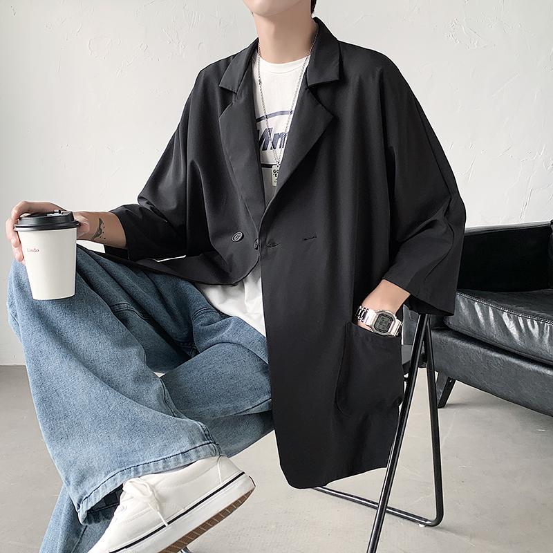 夏季薄款宽松七分袖小西装港风男女同款西服外套潮 A176-9801-P48