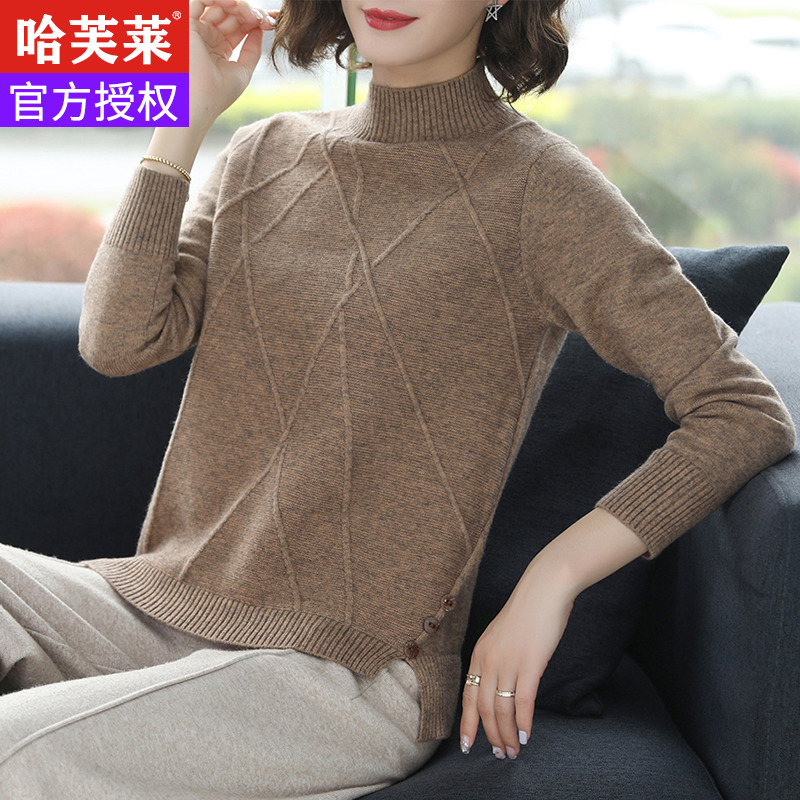 Off season clearance cardigan womens autumn winter thickened womens sweater knitted bottoming shirt half high collar loose short Pullover