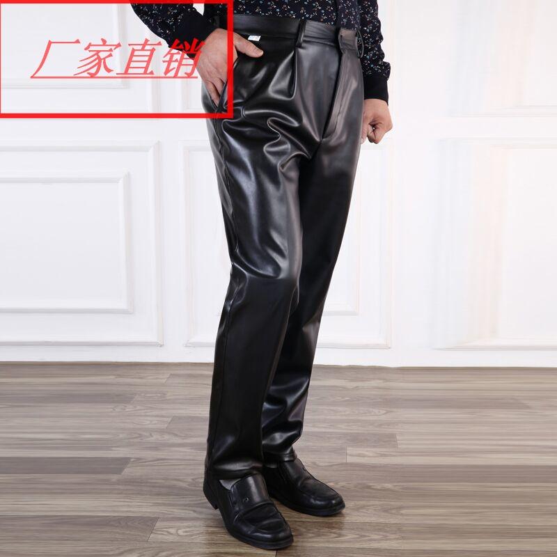 Новый летний мужской кожаный брюки большой двор мотоцикл кожаный брюки для предотвращения ветровой наводнение масло свободный в пожилых ветролом кожзаменитель брюки