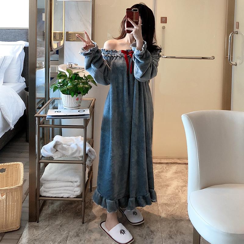 北极绒睡裙女春秋冬季珊瑚绒长款加厚韩版睡袍法兰绒长袖性感睡衣