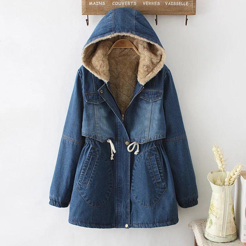 2018新款女装秋冬韩版中长款加绒加厚保暖连帽长袖牛仔棉衣外套潮