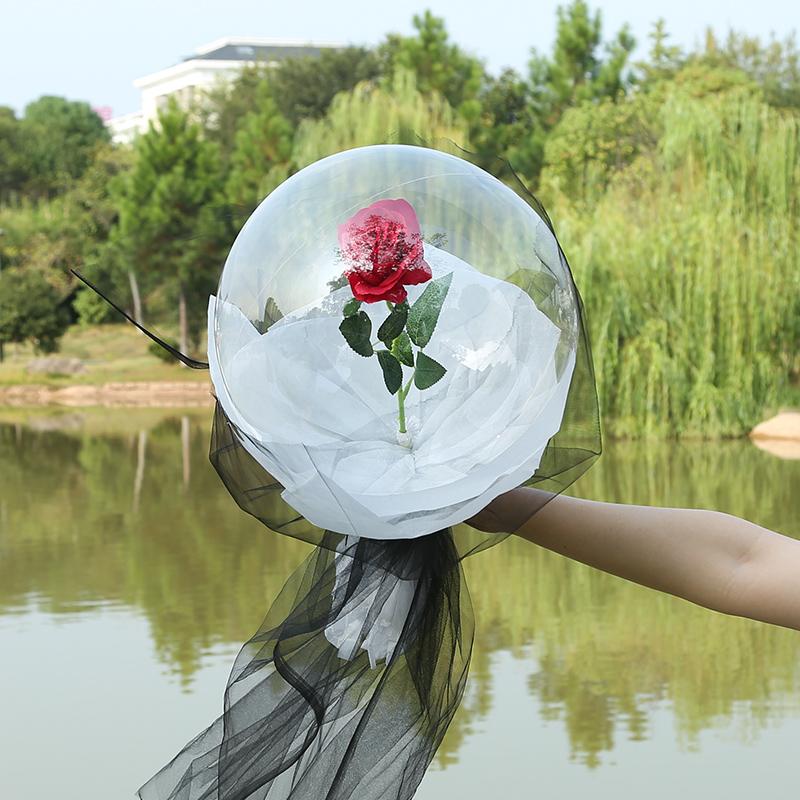 太空玫瑰小王子的玫瑰花diy材料网红透明波波球玫瑰花束气球中花